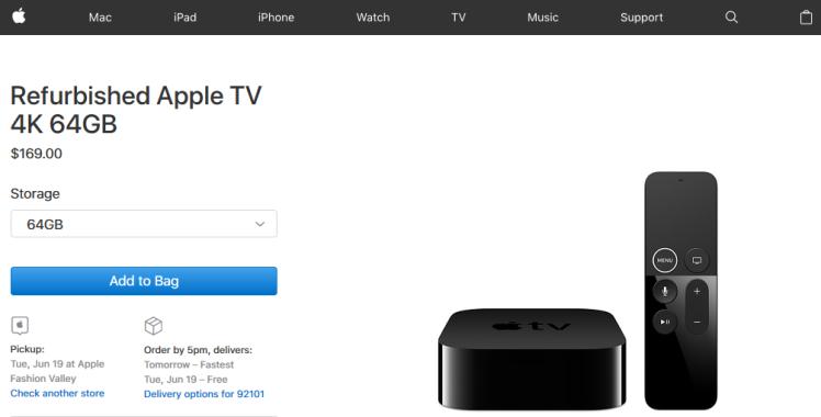 Apple TV 4K 64GB Refurbished